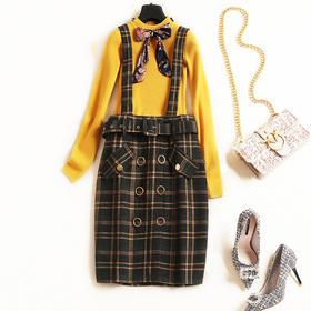 2018女装连衣裙秋冬新款圆领长袖针织衫格纹背带裙淑女裙套装6950