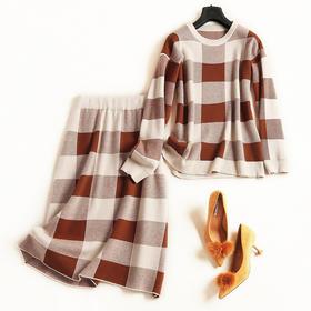 2018时尚套装秋冬新款女装圆领长袖针织衫高腰半裙通勤裙套装6963