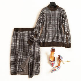 2018时尚套装秋冬新款女装圆领长袖上衣高腰半身裙淑女裙套装6953