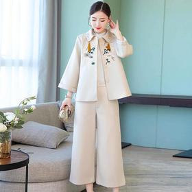 AHM90420qyy新款复古中国风刺绣羊毛呢风衣套装