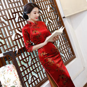 丝绒新品长款旗袍改良女装时尚印花七分袖旗袍裙 ZA-1139