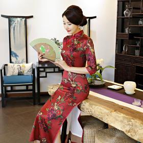 时尚显瘦改良长款优雅气质旗袍 ZA-1184