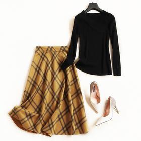 时尚套装2018女装秋冬新款V领插肩袖T恤格纹半身裙淑女裙套装7121