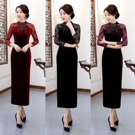 金丝绒新款手工钉珠旗袍日常蕾丝拼接长款礼服旗袍 ZA-6803