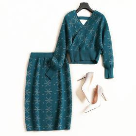 秋冬时尚针织套装裙2018女装新款修身针织两件套中长款打底裙7154