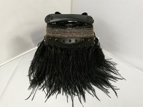 Hibourama Cleo Small Hippie Rain 鸵鸟毛装饰手提包