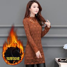 KQL213N966-1E加绒加厚蕾丝保暖连衣裙