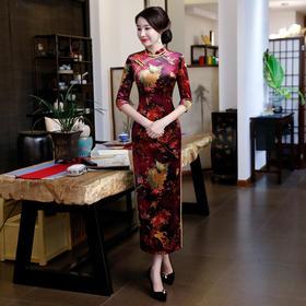 时尚修身显瘦丝绒日常旗袍裙 FMS-08