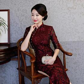 新款改良中袖长款旗袍高端婚宴礼旗袍 FMS-20138