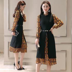 AHN58317by新款女装秋季假两件荷叶边圆领裙子