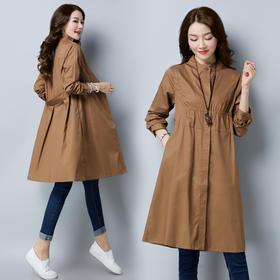 中长款长袖单排扣甜美纯色风衣宽松休闲时尚显瘦修 CS-JYJ8812