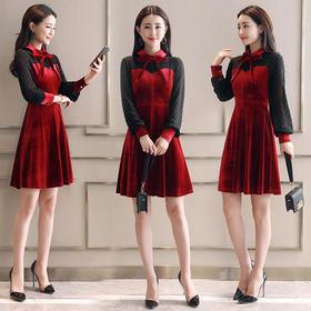 AN8871NSYZ时尚金丝绒气质优雅连衣裙