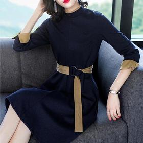 THX218404035显瘦系带气质连衣裙