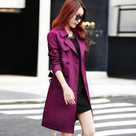 双排扣立领纯色修身中长款长袖风衣 CS-YJZY2601