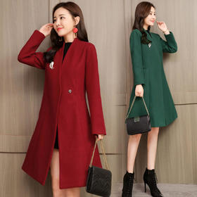 CQ7713HYYX纯色时尚简约毛呢外套