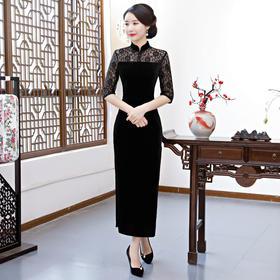 时尚改良修身丝绒旗袍复古绣花长款旗袍裙 FMS-20149