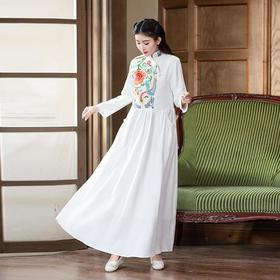 GN1851R复古提花重工刺绣修身连衣裙
