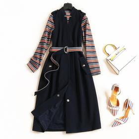 2018女装连衣裙秋冬条纹圆领长袖T恤高腰马甲裙OL通勤裙套装7156