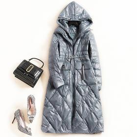 2018女装羽绒服冬季新款连帽长袖高腰纯色欧美时尚休闲长外套7236