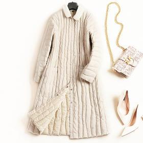 欧美羽绒服2018冬季新款翻领长袖宽松显瘦纯色淑女风中长外套7228