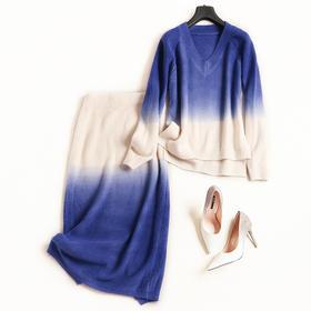时尚套装2018秋冬新款女装V领长袖针织衫高腰半裙淑女裙套装7096