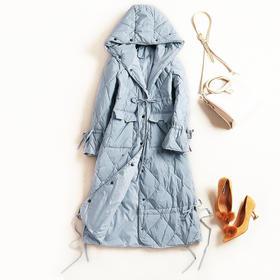 欧美羽绒服女装2018冬季新款连帽喇叭袖收腰纯色淑女中长外套7237