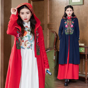 GN1852R重工刺绣棉麻风衣外套