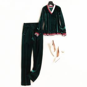 时尚套装2018秋冬女V领长袖上衣松紧腰长裤金丝绒休闲裤套装7221