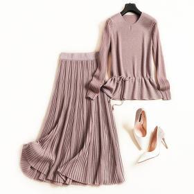 2018欧美时尚套装秋冬新款圆领长袖针织衫高腰半裙淑女裙套装6957