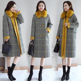 AN18109YJLY时尚仿狐狸毛领拼色格子大衣外套