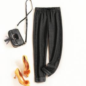 欧美时尚休闲裤2018秋冬新款女装松紧腰显瘦纯色慵懒呢料长裤7133