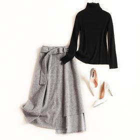 2018女装时尚套装秋冬新款高领长袖针织衫高腰半裙淑女裙套装7198