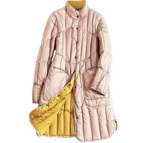 欧美时尚羽绒服2018冬季新款女装高领长袖宽松纯色中长款外套7229