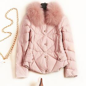 2018冬季女装羽绒服欧美时尚毛边领口长袖宽松纯色淑女短外套7234
