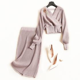 时尚套装2018秋冬新款女装V领长袖针织衫高腰半裙淑女裙套装7123