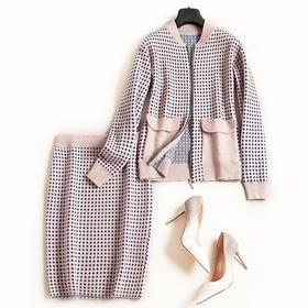 时尚套装2018秋冬新新款女装波点半裙棒球领长袖针织衫裙套装7089