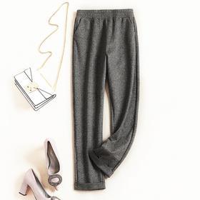 欧美时尚休闲裤2018秋冬新款女装松紧腰纯色显瘦英伦直筒长裤7109