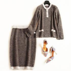 2018时尚套装秋冬新款圆领长袖针织衫高腰半裙气质通勤裙套装6961