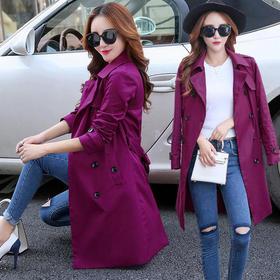 AN1608NSYZ双排扣紫红百搭女装外套