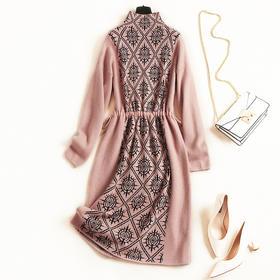 2018女装连衣裙秋冬新款半高领长袖收腰显瘦淑女风针织中长裙6960