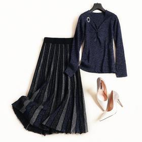 欧美时尚套装2018秋冬女装V领长袖针织衫高腰半裙通勤裙套装7091