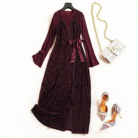 2018女装连衣裙秋冬新款圆领喇叭袖修身显瘦假两件名媛风长裙7077