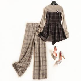 2018时尚套装秋冬女装圆领长袖针织衫格纹九分裤5OL通勤裤套装7030