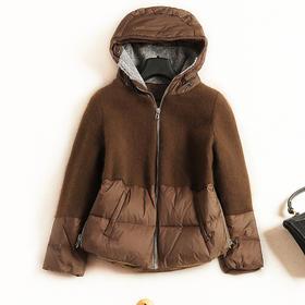 2018冬季羽绒服欧美女装连帽长袖宽松显瘦撞色休闲风短款外套7104