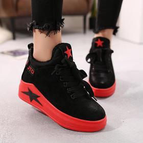LN59-1A百搭黑色厚底内增高运动鞋