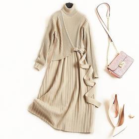 针织连衣裙2018秋冬新款女装堆堆领长袖修身显瘦纯色简约中裙7203