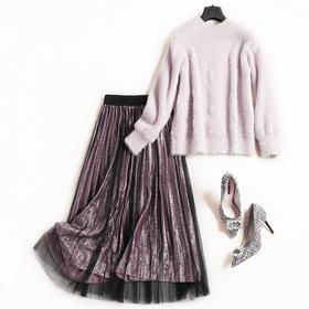 欧美时尚套装2018秋冬女装圆领长袖上衣高腰半裙淑女风裙套装7090