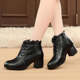 MLD1829保暖系带粗跟尖头鞋
