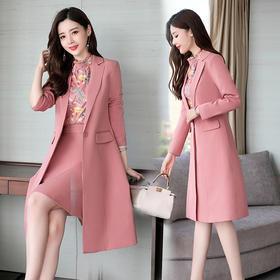 舒适雅纯色长袖个性修身显瘦季中长款两件套 CS-GJC6888