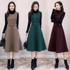 纯色圆领高腰两件套大摆型2018年秋季长袖长裙口袋套装 CS-SERQ1782